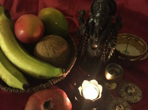Altar to Lord Ganesha with offerings by Lindsey Piech